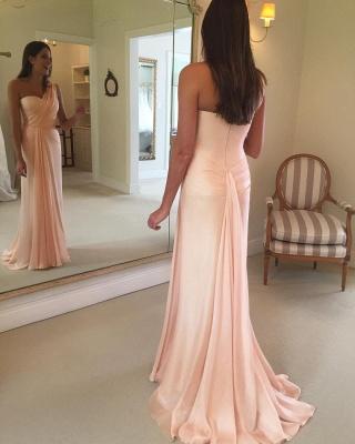 Ruffles Sleeveless Sheath Pink One-Shoulder Prom Dress_3