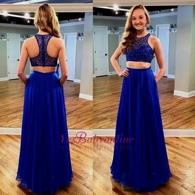Two-piece Jewel Beads Newest Royal-Blue Long Sleeveless Prom Dress_1