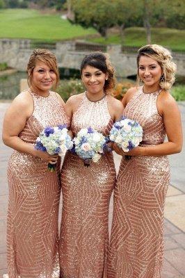 Sexy Sequins Mermaid Bridesmaid Dresses | Sleeveless Gold Wedding Party Dresses_1