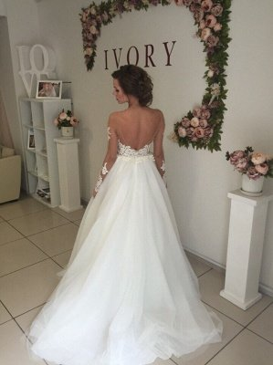Glamorous Long Sleeves  Applique Tulle Wedding Dresses_4