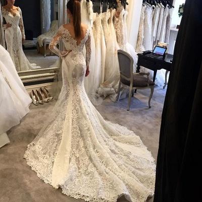 V-Neck Long Sleeves Ruffles Train Lace Mermaid Wedding Dress_3