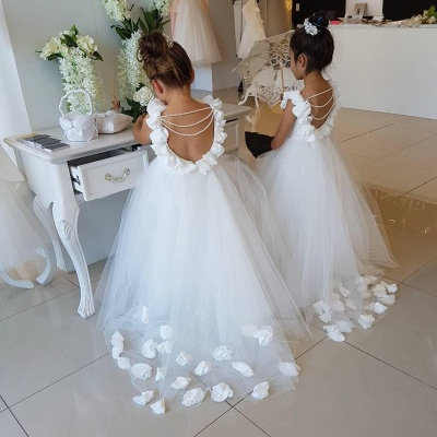 Sweet Tulle Appliques Backless Flower Girl Dresses with Pearls_4