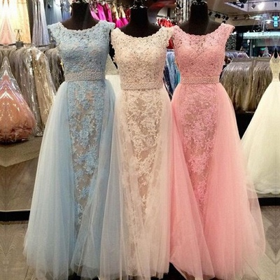 Elegant Lace Prom Dresses Scoop Neck with Overskirts Beading Belt Wedding Guest Dresses_3