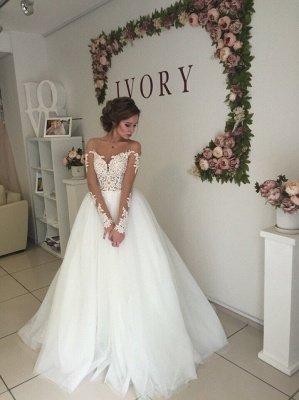 Glamorous Long Sleeves  Applique Tulle Wedding Dresses_3