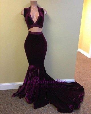 Grape Two-Piece Prom Dresses V-Neck Sleeveless Velvet Evening Gowns_1