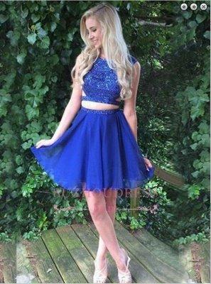 Royal-Blue Beading Modest Sleeveless Short Two-Piece Homecoming Dress_3