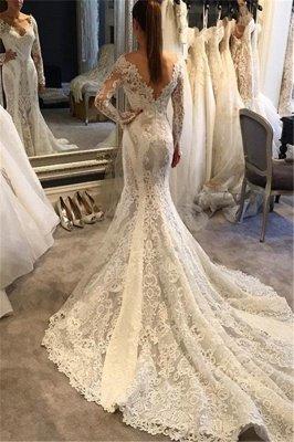 V-Neck Long Sleeves Ruffles Train Lace Mermaid Wedding Dress_2