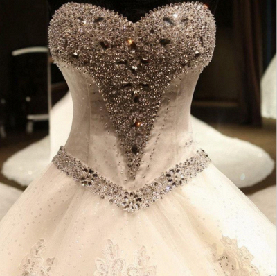 Glamorous Sweetheart Crystals Lace-up Puffy Wedding Dresses_4