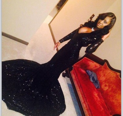 Shiny Black Mermaid Prom Dresses Deep V-Neck Long Sleeves Formal Evening Gowns_2
