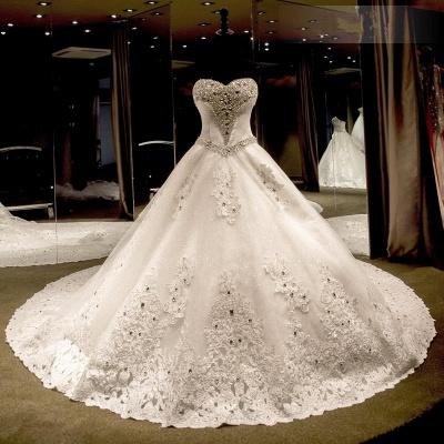 Glamorous Sweetheart Crystals Lace-up Puffy Wedding Dresses_3