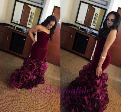 Sweetheart-Neck Ruffles Flowers Velvet Burgundy Mermaid Train Prom Dresses_1