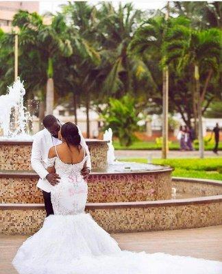 Glamorous Cap-Sleeve Appliques Plus-Size Lace Mermaid Wedding Dress_5