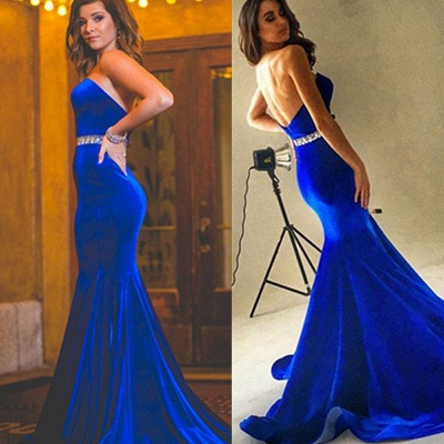 Velvet Sweetheart Charming Royal-Blue Backless Mermaid Crystals-Belt Prom Dress_2