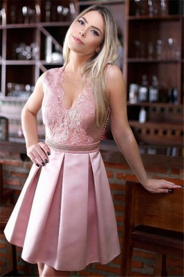 Pink Sheer Tulle A-Line Homecoming Dresses Cheap | Sleeveless Beaded Appliques Short Homecoming Dress_2