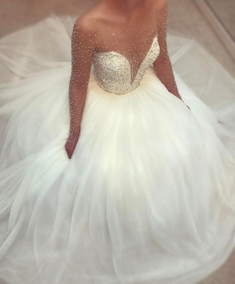 Princess Ball Gown Beaded Bridal Gowns  | Long Sleeves Crystals Wedding Dresses_3