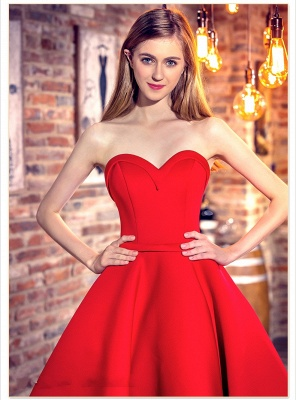 Red Cocktail-Dresses Chic Sweetheart-Neck Hi-Lo Short Party Dresses_5
