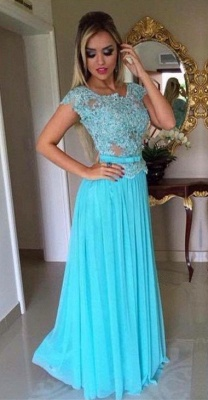 Scoop Appliques Short-Sleeves A-Line  Prom Dress_2