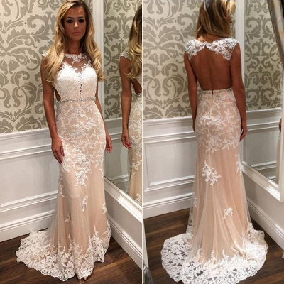 Crystal Open-Back  Gorgeous Long Lace Prom Dress_3