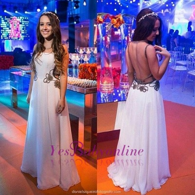 A-line Chic White Backless Floor-length Evening Dress_1