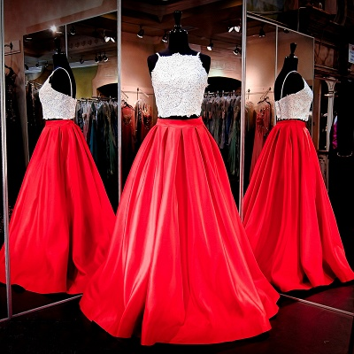 Glamorous Two-Piece Prom Dresses White Red A-line Evening Gowns_2