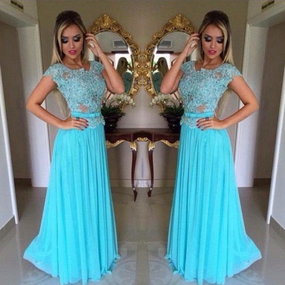 Scoop Appliques Short-Sleeves A-Line  Prom Dress_3