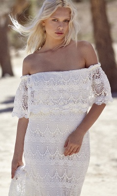 Off-the-shoulder Glamorous Lace White A-line Sweep Train Wedding Dress_5