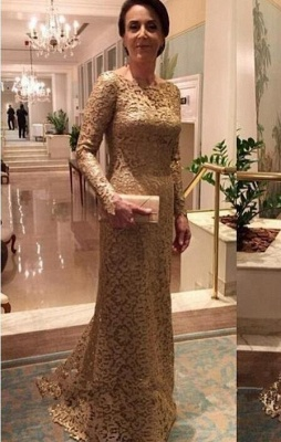 Elegant Crew Sheath Long Sleeve Sweep Train Lace Mother of the Bride Dresses_1