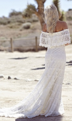 Off-the-shoulder Glamorous Lace White A-line Sweep Train Wedding Dress_3