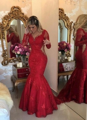 Luxury Mermaid Lace Evening Dresses | V-Neck Long Sleeves See Through Prom Dresses_1