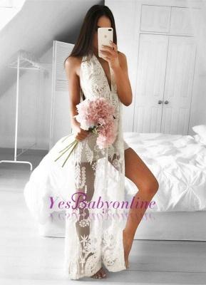 Sleeveless Front-Split Mermaid V-neck Floor-length Lace Sexy Prom Dress_1
