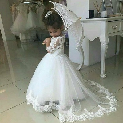 Sweet Half Sleeves Lace Flower Girl Dresses | Tulle Ball Gown Wedding Party Dresses_4
