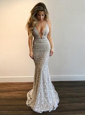 A-line V-Neck Prom Dresses   Spaghetti-Straps Sleeveless Beading Evening Gowns_1