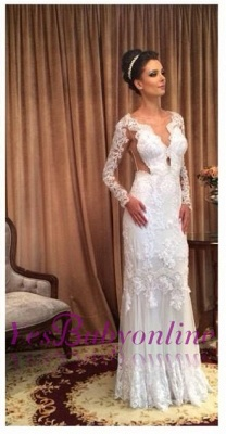 Lace White Long Sleeves Floor-length Sheath Style Wedding Dress_4