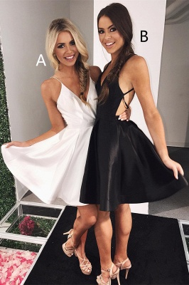 Sexy V-neck Sleeveless A-line Homecoming Dress | Knee-length Party Gown_3