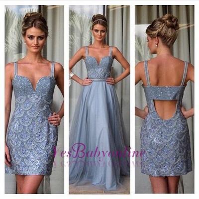 Beading Straps A-line Open-Back Detachable Evening Dress_3