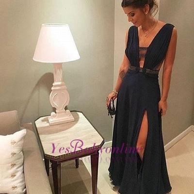Dark-Navy Beading Split-Front Floor-length Chiffon Deep-v-neck Evening Dress_1