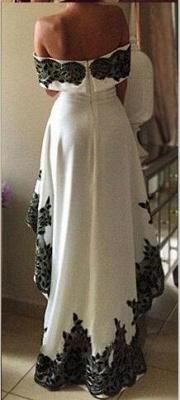 Off-the-shoulder Hi-Lo Appliques Lace Elegant Prom Dress_3