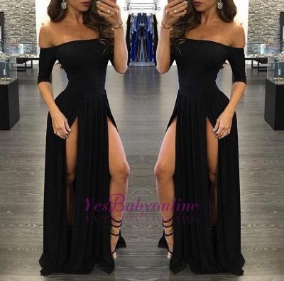 Off-the-shoulder Half-Sleeve  Sexy Black Split Prom Dress_1