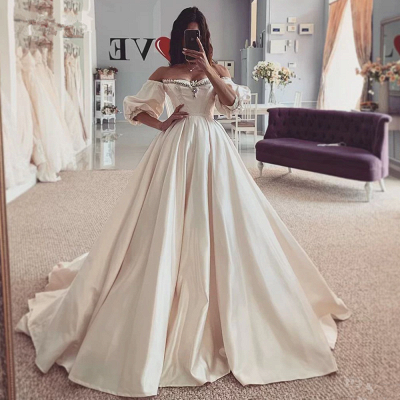 Off the Shouder Sweetheart Puffy Sleeves Vintage Ball Gown Wedding Dresses_2