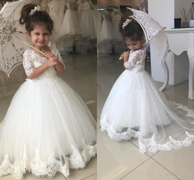 Sweet Half Sleeves Lace Flower Girl Dresses | Tulle Ball Gown Wedding Party Dresses_3
