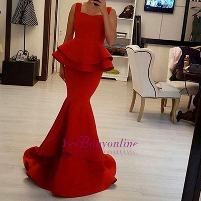 Chic Red Mermaid Prom Dresses Peplum Ruffles Square Neck Sleeveless Evening Gowns_1