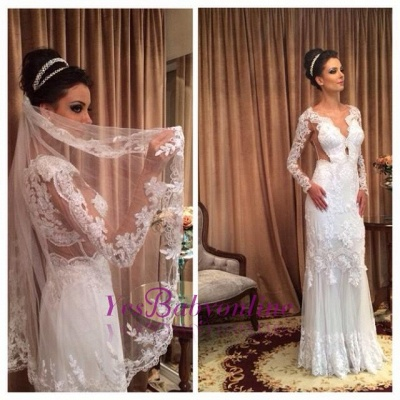Lace White Long Sleeves Floor-length Sheath Style Wedding Dress_1