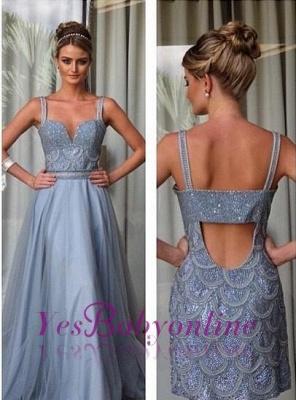 Beading Straps A-line Open-Back Detachable Evening Dress_1