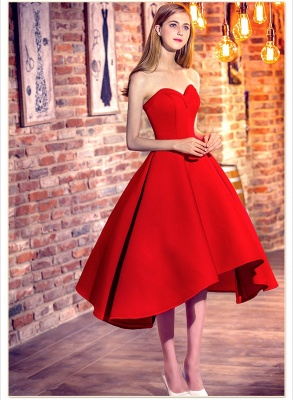 Red Cocktail-Dresses Chic Sweetheart-Neck Hi-Lo Short Party Dresses_4