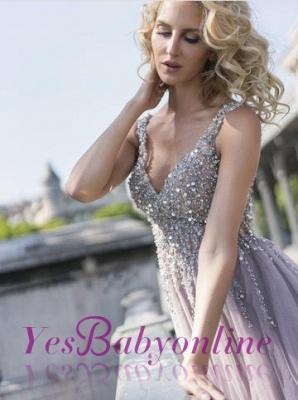 Sleeveless Deep-V-Neck Beading Brilliant Tulle Rhinestones A-Line Prom Dresses_1