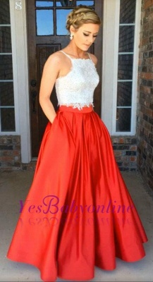 Glamorous Two-Piece Prom Dresses White Red A-line Evening Gowns_1