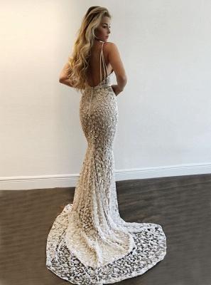 A-line V-Neck Prom Dresses   Spaghetti-Straps Sleeveless Beading Evening Gowns_3