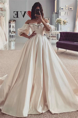 Off the Shouder Sweetheart Puffy Sleeves Vintage Ball Gown Wedding Dresses_1