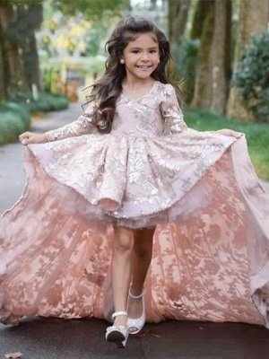 Jewel Long Sleeves Pink Flower Girl Dresses | Pretty Pageant Gown for Little Girl