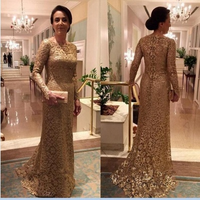 Elegant Crew Sheath Long Sleeve Sweep Train Lace Mother of the Bride Dresses_3